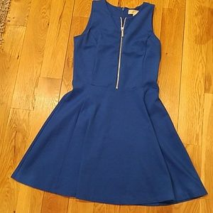 MK blue A-line dress with zipper in front and back